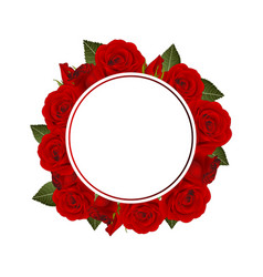 red rose flower banner wreath vector image