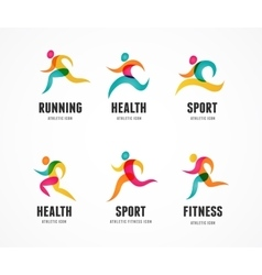 Running marathon colorful people icons and symbols vector
