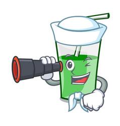 sailor with binocular green smoothie mascot vector image