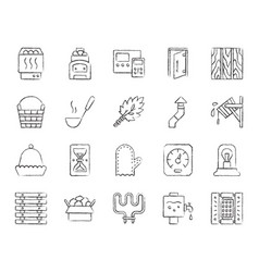 sauna equipment charcoal draw line icon set vector image