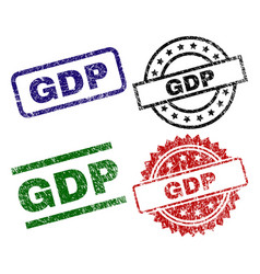 scratched textured gdp seal stamps vector image