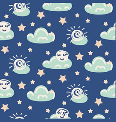 Seamless pattern with clouds and moon vector