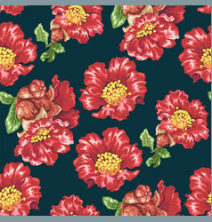 seamless pattern with pomegranate blooming vector image