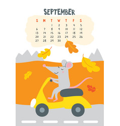 September calendar page with cute rat riding vector