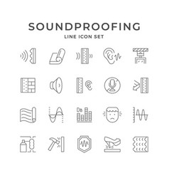 Set line icons soundproofing vector