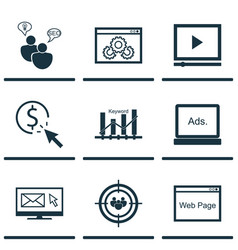 Set of 9 advertising icons includes web page vector