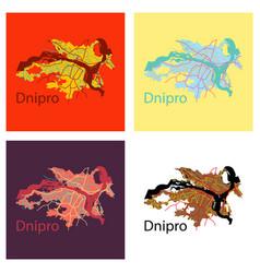 Set of flat icon map dnepro city vector