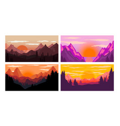set poster template with wild mountains vector image