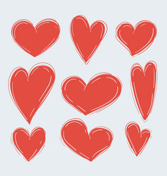 set various simple red hearts on white vector image