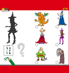 Shadows activity game with fairy tale characters vector