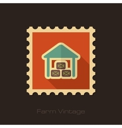 Shed retro flat stamp with long shadow vector image