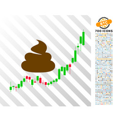 Shit hyip candle chart flat icon with bonus vector