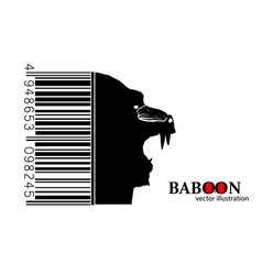 silhouette of a baboon vector image