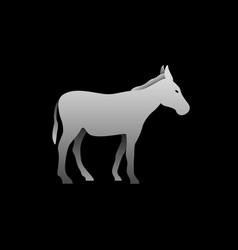 Silhouette of a gray donkey standing donkey vector