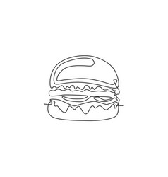 single continuous line drawing american burger vector image