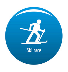 ski race icon blue vector image