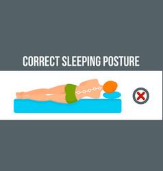 sleeping posture banner horizontal flat style vector image
