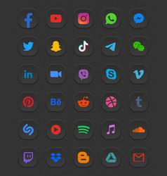 Social media modern 3d web icons set vector