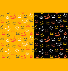 spooky halloween ghost face seamless pattern flat vector image