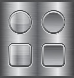 Square and round buttons metal brushed texture vector
