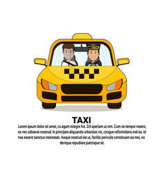 Taxi service icon driver and male passenger in vector