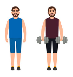 the bearded male athlete holds dumbbells the guy vector image
