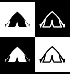 tourist tent sign black and white icons vector image