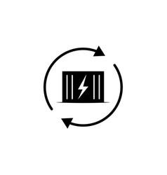 Transformer lightning arrow icon on white vector