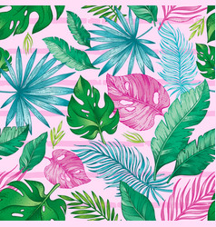 tropic palm leaf seamless pattern tropical nature vector image