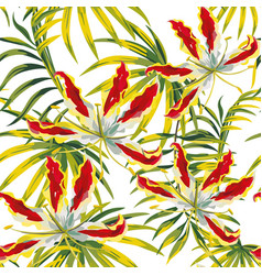 tropical seamless pattern white background vector image