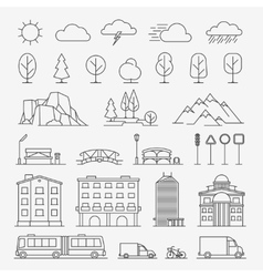 Urban line icons vector