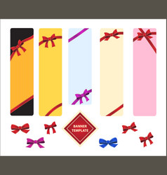 Vertical template colored banners with red bows vector