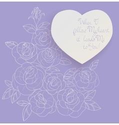 Vintage card roses bouquet romantic quotes vector