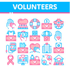 volunteers support thin line icons set vector image