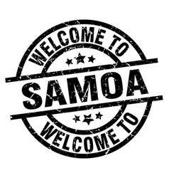Welcome to samoa black stamp vector