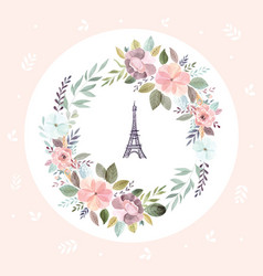 With eiffel tower and floral wreath vector