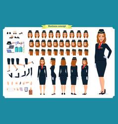 Woman character creation set the stewardess vector