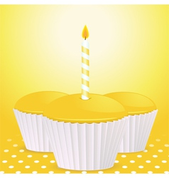 yellow cupcakes vector image