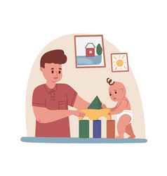 Young father playing with baby dad spending time vector
