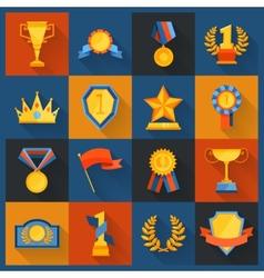 Award icons set flat vector image vector image