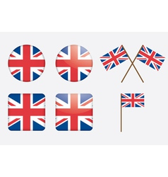 badges with United Kingdom flag vector image vector image