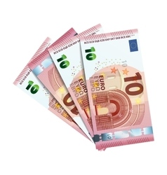 Forty euro in bundle of banknotes on white vector image