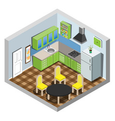 isometric set of kitchen furniture vector image
