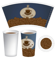 pattern cup of coffee with the texture of denim vector image vector image