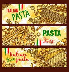traditional italian cuisine pasta banners vector image