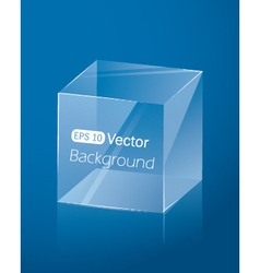Abstract dark blue background with glass cube vector image vector image