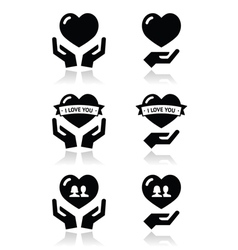 Hands with heart love relationship icons set vector image vector image