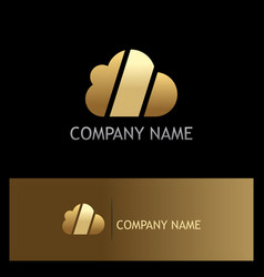 cloud technology shape gold logo vector image vector image
