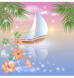 Sailboat floats on the sea vector image