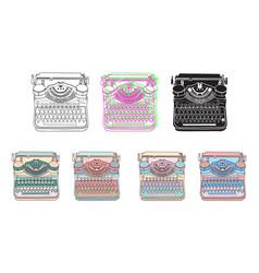 set of 7 vintage typewriters vector image